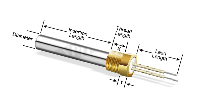 Custom Cartridge Heaters with Single or Double Threaded Fittings - Brass or Stainless Steel NPT Fittings